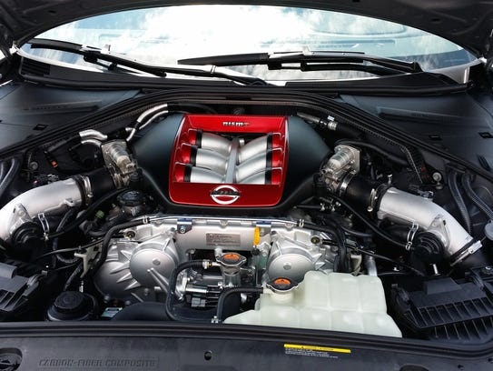 Under the hood of the 2015 Nissan GT-R, the twin-turbo