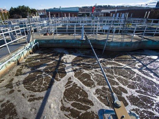 Aeration tanks at work at Burlington's main wastewater