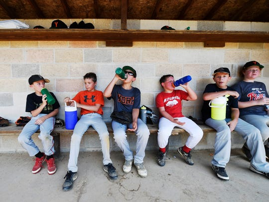York Little League players ages 9 to 11 take a water break during practice on Shipley Field. The league's lease of the Shipley-Brenneman Complex has been terminated, and they must vacate by September 30.