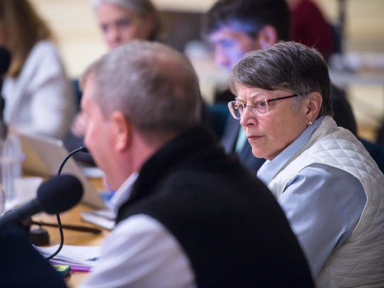 City Council President Jane Knodell listens during a meeting in which the council announced a mechanism for deciding on a bidder for Burlington Telecom during a meeting on Monday, November 13, 2017.