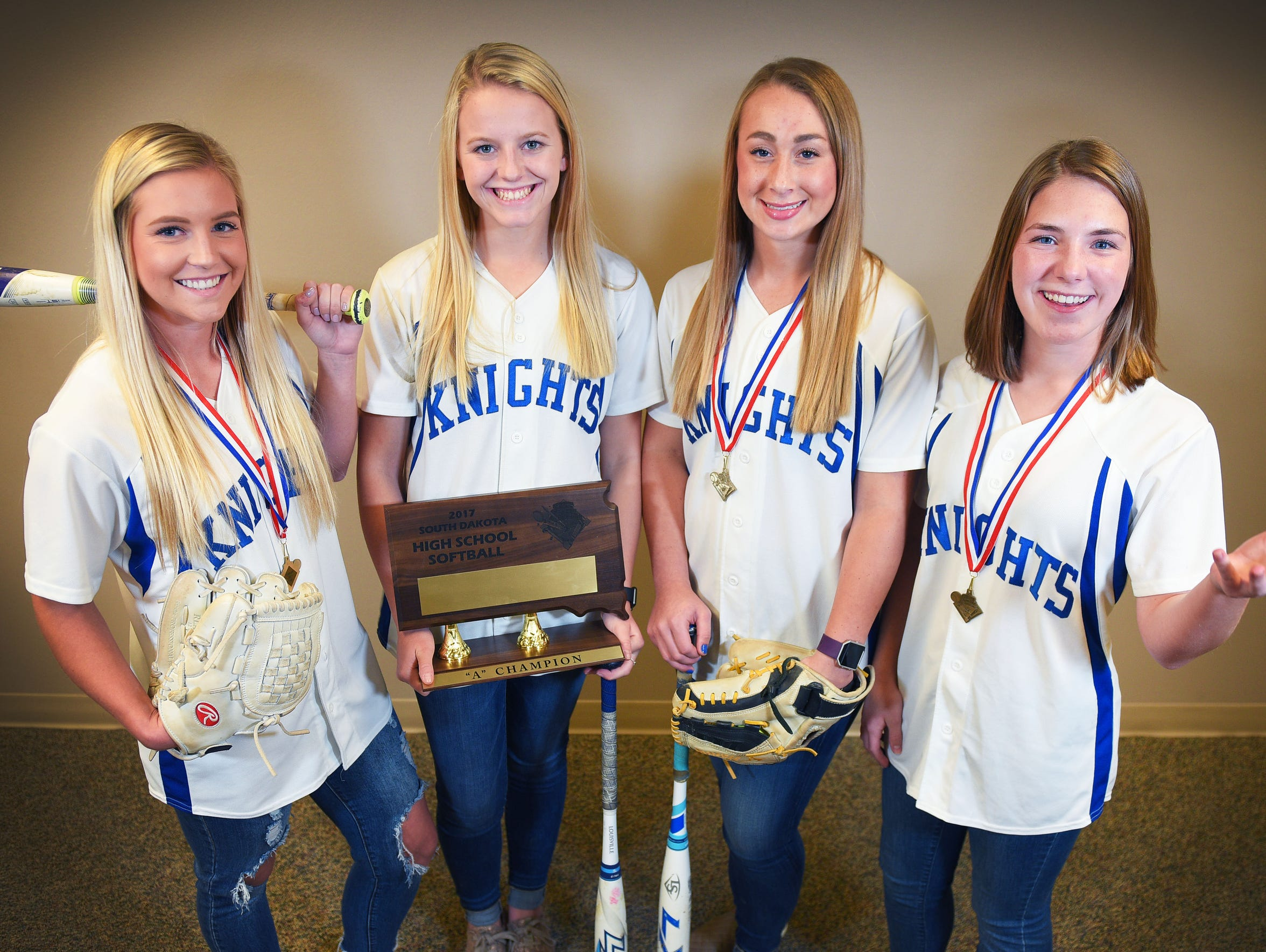 Gabbi Holbert (far left) was a key player for O'Gorman in their state championship run, joined by teammates (left to right) Hannah Loving, Izzy Mattecheck and Morgan Polak.