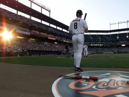 Cal Ripken stands in the on-deck circle during his