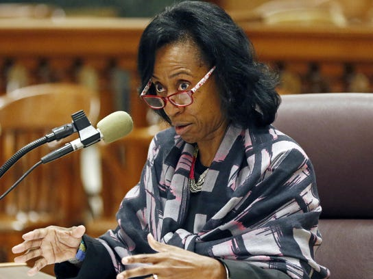 Former Greenville teacher Linda Winters-Johnson testifies about a video-recorded incident in 2016 which allegedly shows her dragging a special education student by the hair.