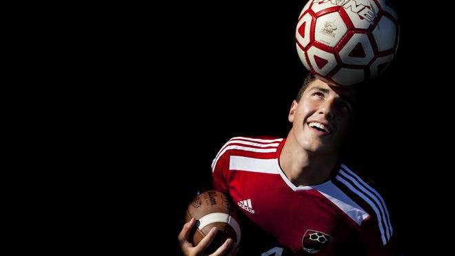 Port Huron senior Jon Miller, 17, plays both forward for Big Reds soccer and is a kicker and receiver on the football team.