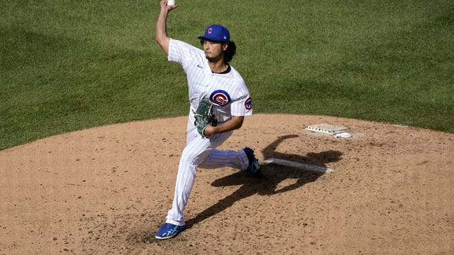 Chicago Cubs starting pitcher Yu Darvish throws during the fifth inning in Game 2 of a National League wild-card baseball series against the Miami Marlins on Friday, Oct. 2,  in Chicago.