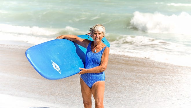 Nicky Campbell enjoys her time in the sun and waves at Stuart Beach.