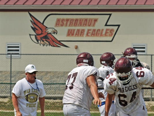 Astronaut football practice
