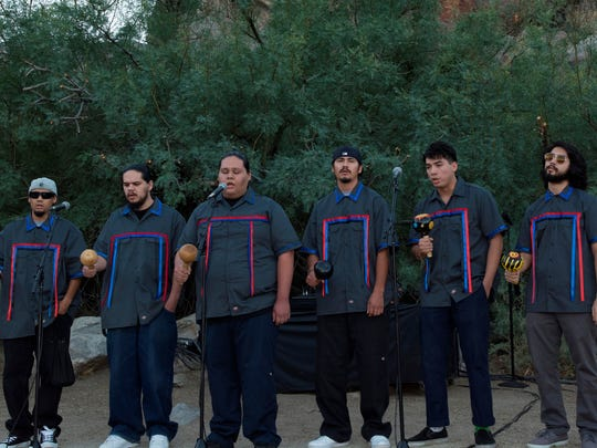 The Pai-Nik-Tem Clan of Bird Singers performs during the cocktail reception at Dinner in the Canyons 2017.