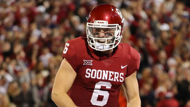 Oklahoma Sooners quarterback Baker Mayfield (6) celebrates during the game against the TCU Horned Frogs at Gaylord Family - Oklahoma Memorial Stadium.