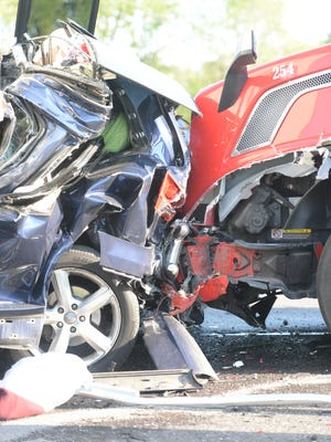 A multi-vehicle accident on Interstate 70 on Sunday killed a Massachusetts woman.