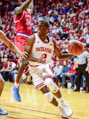 Indiana Hoosiers guard Josh Newkirk (2) looks for an open teammate during a drive Sunday against Delaware State.