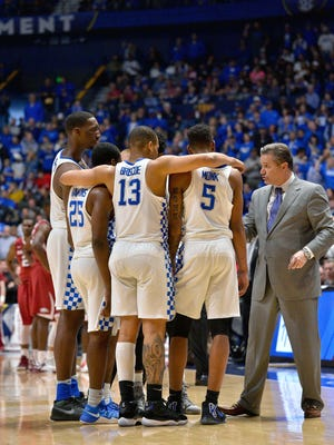 Kentucky coach John Calipari talks during a time out against Arkansas in the SEC tournament title game.