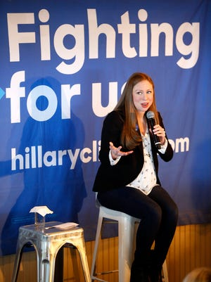 Chelsea Clinton speaks during a noontime appearence at Charley's Ocean Grill in Long Branch, NJ, Tuesday, May 17, 2016.  This was the first of two stops in Monmouth County she made in support of her mother Hillary Clinton's presidential campaign.   (Photo by Thomas P. Costello / Asbury Park Press)