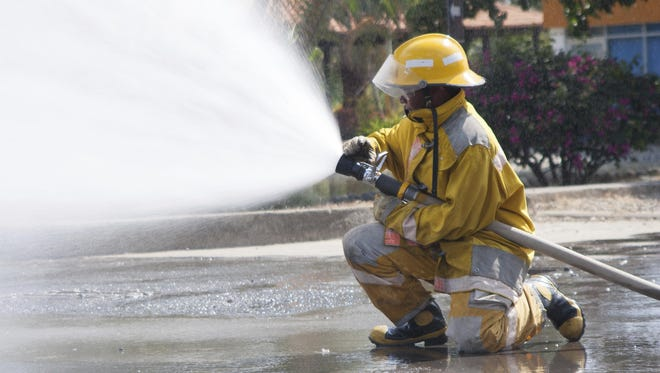 Firefighter working.