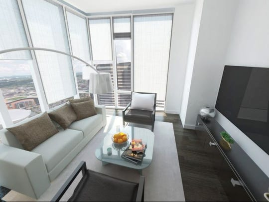 Design of a living room unit at 505, which is nearing