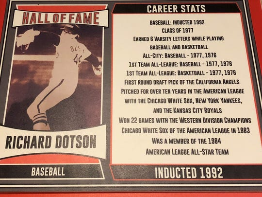 Richard Dotson's Hall of Fame plaque at Anderson High School lists his numerous achievements.