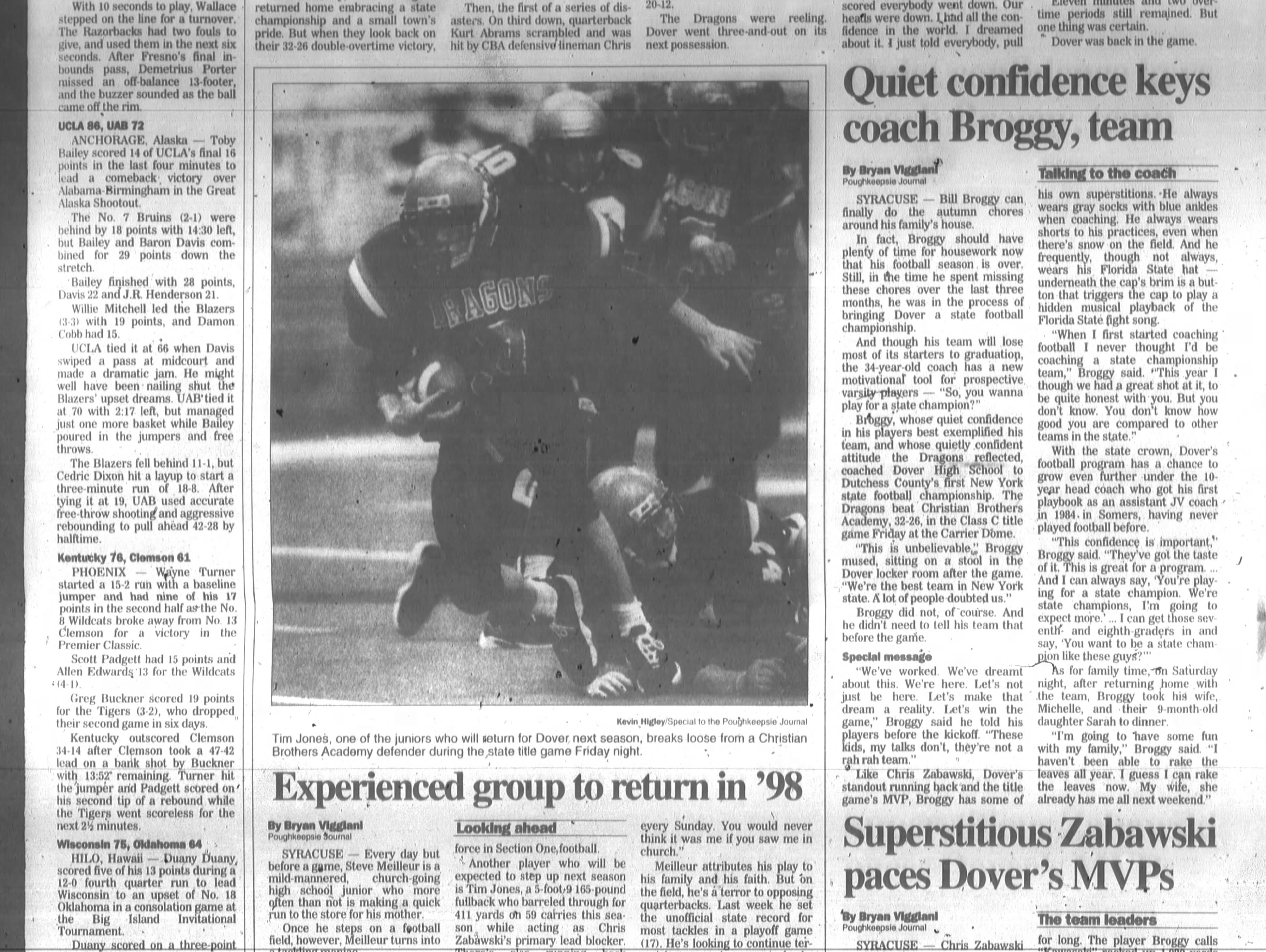 The Journal expanded on its coverage of Dover's state football championship in this page from Nov. 30, 1997.