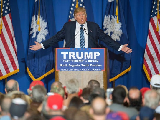 Donald Trump speaks during a rally in North Augusta,