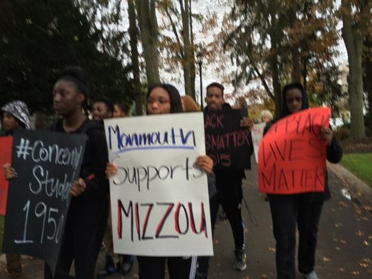 Monmouth University students protet in support of students at the University of Missouri last month.
