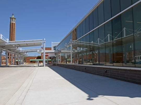 Work continues Monday, May 23, at the Blue Water Transit Bus Center in Port Huron.