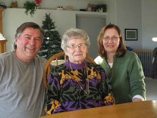 The Register's Aaron Young's  father, Fred Young, poses for a photo with his mother, Virginia Kail (center) and sister, Debbie Schiller.