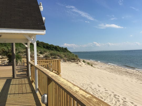 The beach at Sunset Beach Resort in Northampton County, Virginia. The resort recently underwent a massive renovation.