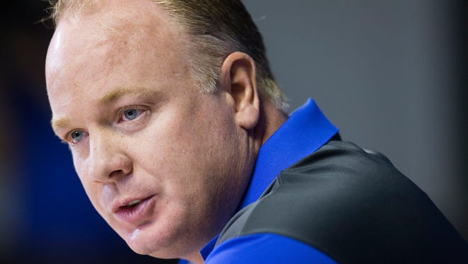 Kentucky's head coach Mark Stoops speaks to reporters during the team's annual NCAA college football media day at Commonwealth Stadium in Lexington, Ky., Friday, Aug. 7, 2015. (AP Photo/ David Stephenson)
