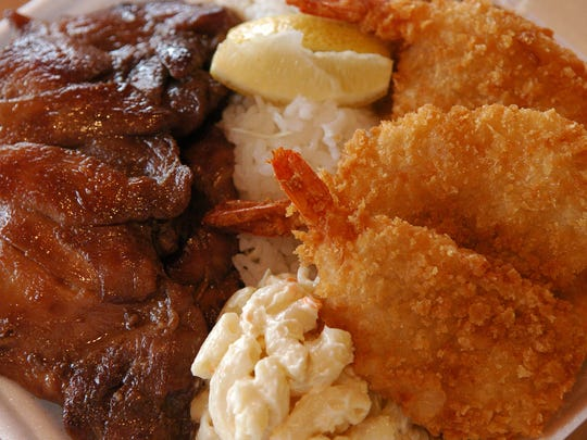 This plate lunch from L & L Hawaiian Barbecue features shrimp and barbecued chicken.