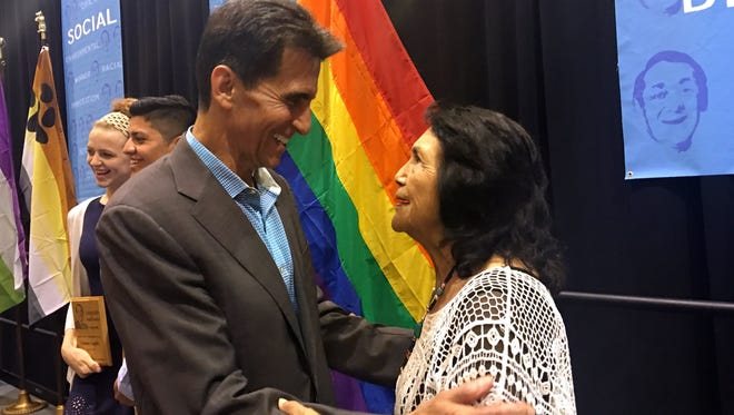 State Sen. Mark Leno and labor activist Dolores Huerta celebrate Harvey Milk Day in Palm Springs Friday May 20.