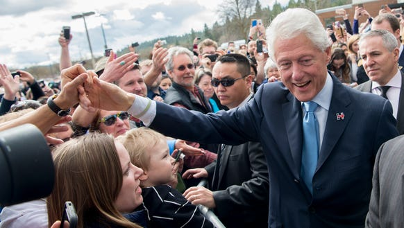 Former president Bill Clinton campaigns for his wife,
