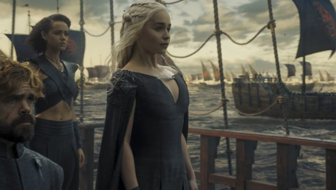 Peter Dinklage as Tyrion, Nathalie Emmanuel as Missandei and Emilia Clarke as Dany in a scene from Season 6 of 'Game of Thrones.'