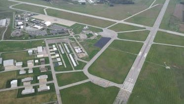 Mansfield Lahm Airport, seen from above.