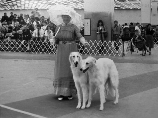 Dog shows exhibiting the best of breeds began to appear in Detroit in the 1870s. The Detroit Kennel Club was established in 1916. This DKC show, probably from the 1980s, celebrates those early years with a costumed exhibitor and pair of Borzois.