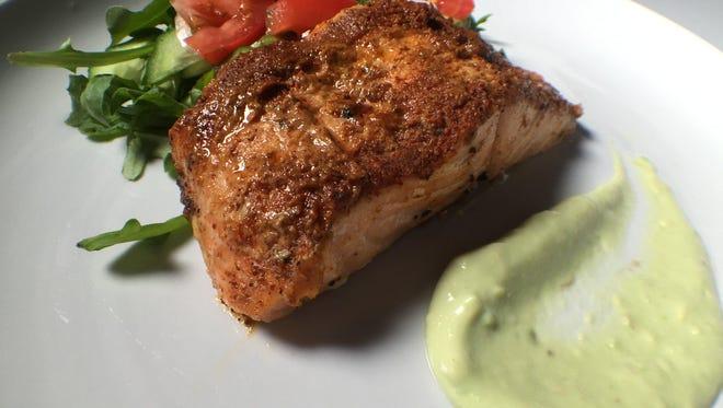 Ancho-spiced Salmon with Avocado Crema.