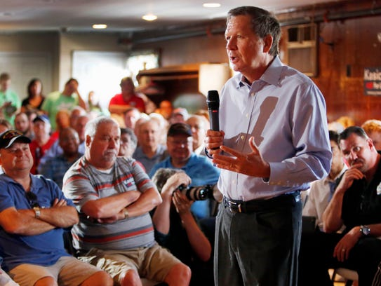 Ohio Gov. John Kasich speaks in Derry, N.H., on Aug.