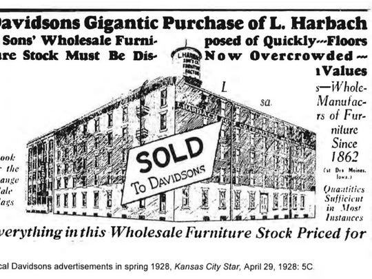 This 1928 advertisement in the Kansas City star announces the sale of the Harbach buildings in downtown Des Moines.