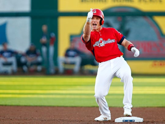 St. Louis Cardinal Harrison Bader celebrates as a member of the Springfield Cardinals during the Texas League All-Star Game at Hammons Field in June 2016.