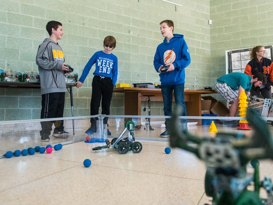 Lakeside Middle students control remote robots as part of a STEM demonstration at Lakeside Middle School on Thursday, December 21.