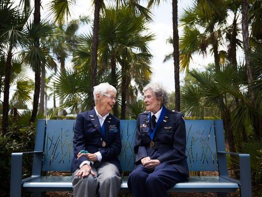 "Shirley Kruse, 95, and Bernice ""Bee"" Haydu, 97, pose"