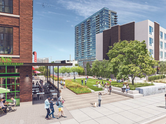 MarketStreet Enterprises' proposed Three Thirty Three development would feature adjacent open space with a lawn, benches, stage and decorative water wall.