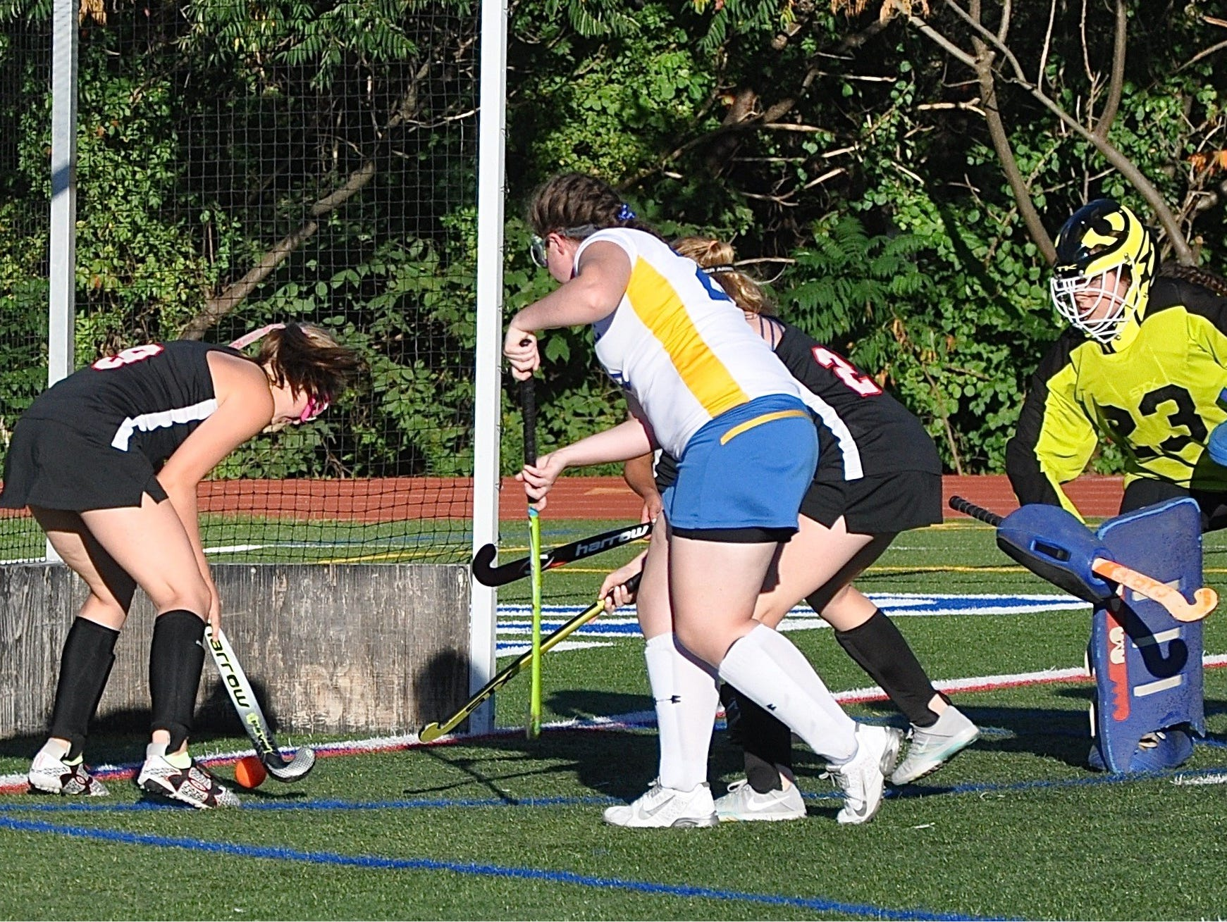 Kate Stevens gets behind Mahopac's D to score off a Fusine Guvaert reverse assist in Rye's 5-1 win. Photo from Sep 12, 2016