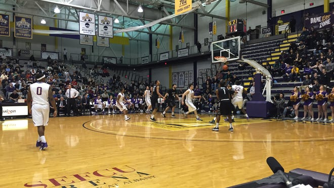 The Binghamton University men's basketball team played at UAlbany's SEFCU Arena on Wednesday night.