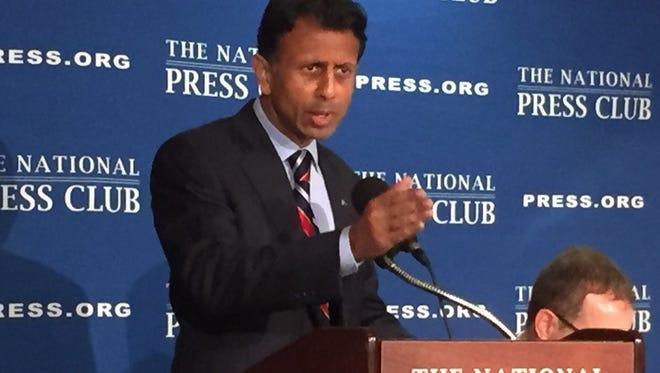 Gov. Bobby Jindal blasted GOP presidential rival Donald Trump at the National Press Club.