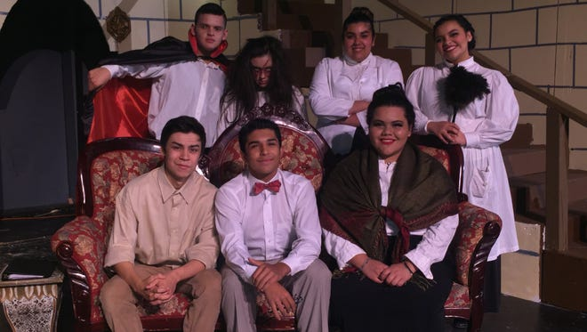 """Del Valle High School students taking part in the stage show, """"Dracula,"""" included, bottom, left to right: Jose Daniel Arambula, Nathaniel Gomez and Mileena Rodriguez; and top, left to right, Kevin Jacob Guzman, Karla Sosa, Diana Gutierrez, and Mariana Candice Cordero"""