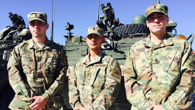"From left, 1st Lt. Patrick Decker, 1st Lt. Paul ""Jacob"" Cortez and 1st Lt. Christian Groom are the top Rangers at Fort Bliss and the 1st Armored Division."