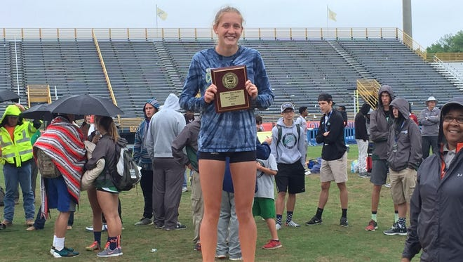 Reynolds senior Anna Vess won three state championships at Friday's NCHSAA 3-A track meet in Greensboro.