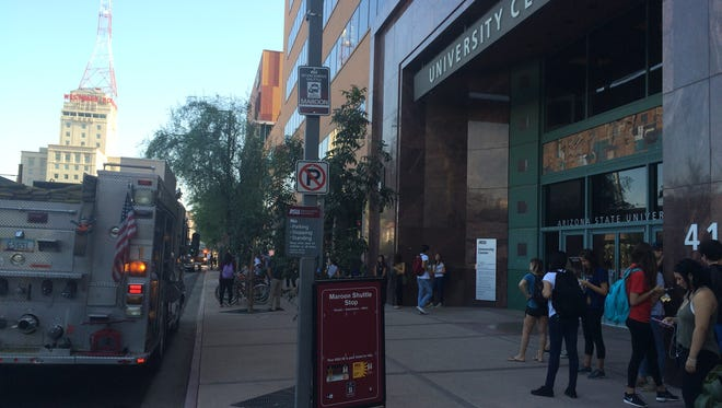 Smoke was reported in an elevator at the University Center Building on ASU's downtown campus on Aug. 25, 2016.