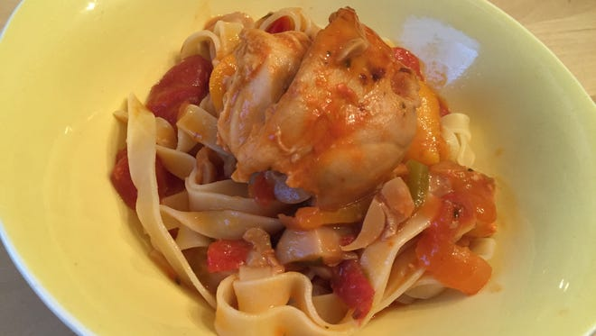 Wegmans Chicken Cacciatore in the Ready-to-Cook E-Z Oven Package was served over pasta.