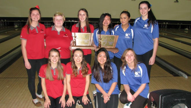 Westwood (in red) and Holy Angels (in blue) gave Bergen County two group champions at the state girls bowling team finals on Friday, Feb. 10, 2017 at Bowlero North Brunswick.