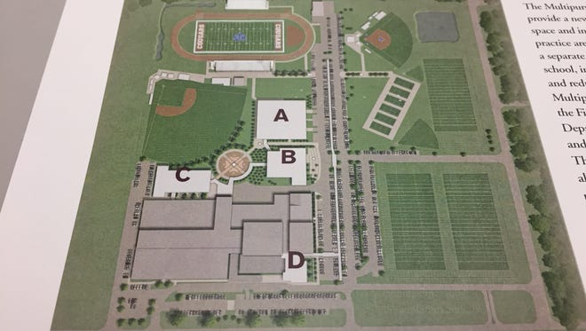 This rendering shows ideas for a master site plan for St. Thomas More Catholic High School.